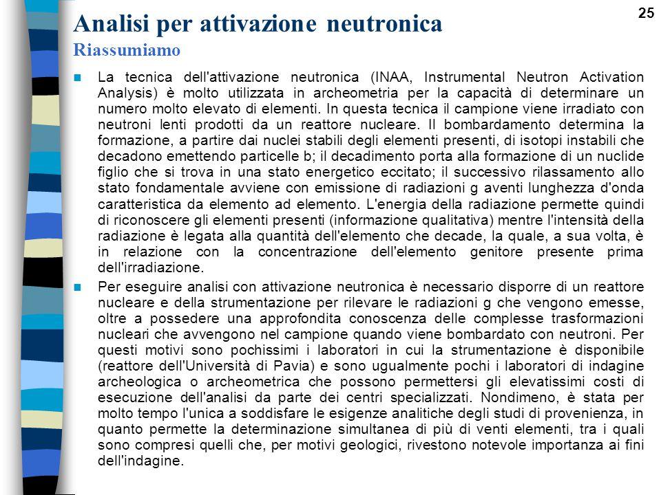 25 Analisi per attivazione neutronica Riassumiamo La tecnica dell'attivazione neutronica (INAA, Instrumental Neutron Activation Analysis) è molto util