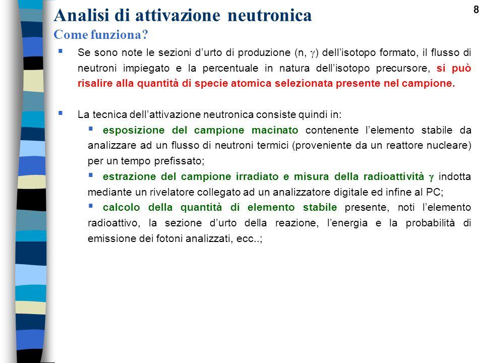 8  Se sono note le sezioni d'urto di produzione (n,  ) dell'isotopo formato, il flusso di neutroni impiegato e la percentuale in natura dell'isotopo