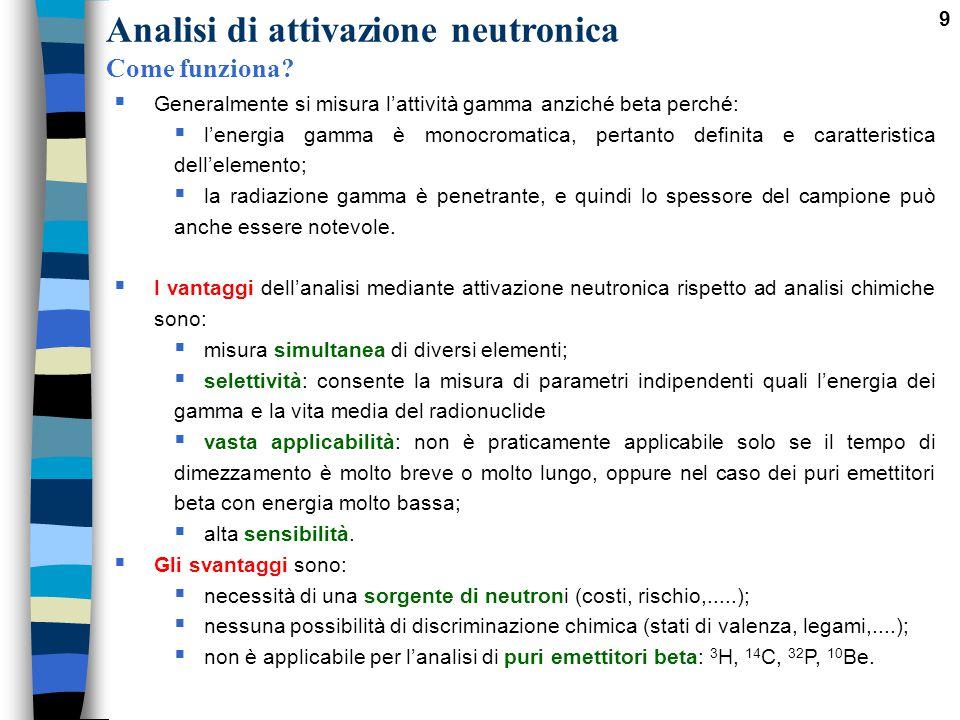 9  Generalmente si misura l'attività gamma anziché beta perché:  l'energia gamma è monocromatica, pertanto definita e caratteristica dell'elemento;