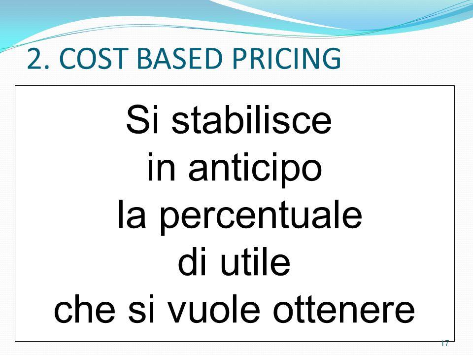 2. COST BASED PRICING Si stabilisce in anticipo la percentuale di utile che si vuole ottenere 17