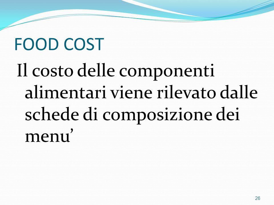 FOOD COST Il costo delle componenti alimentari viene rilevato dalle schede di composizione dei menu' 26