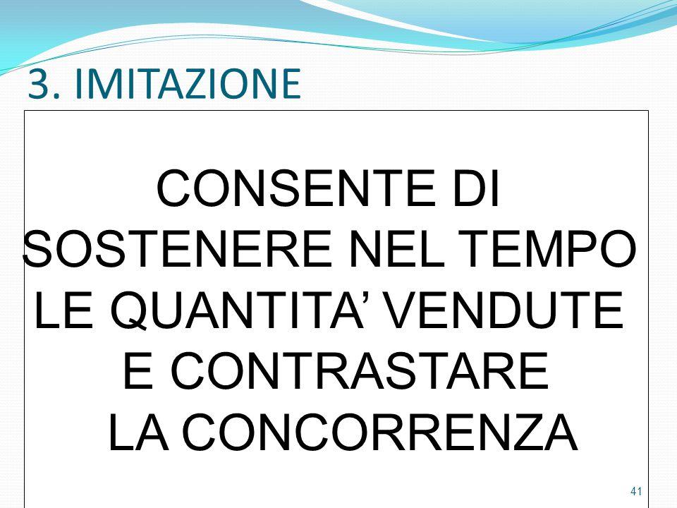 3. IMITAZIONE CONSENTE DI SOSTENERE NEL TEMPO LE QUANTITA' VENDUTE E CONTRASTARE LA CONCORRENZA 41