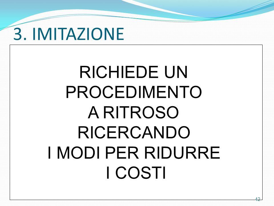 3. IMITAZIONE RICHIEDE UN PROCEDIMENTO A RITROSO RICERCANDO I MODI PER RIDURRE I COSTI 42