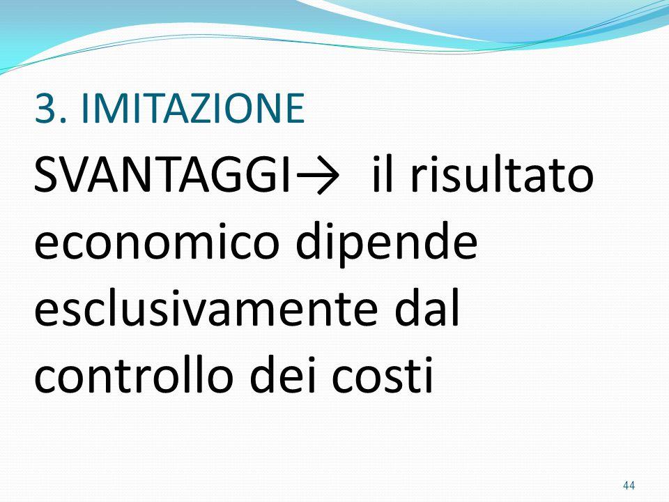 3. IMITAZIONE SVANTAGGI→ il risultato economico dipende esclusivamente dal controllo dei costi 44
