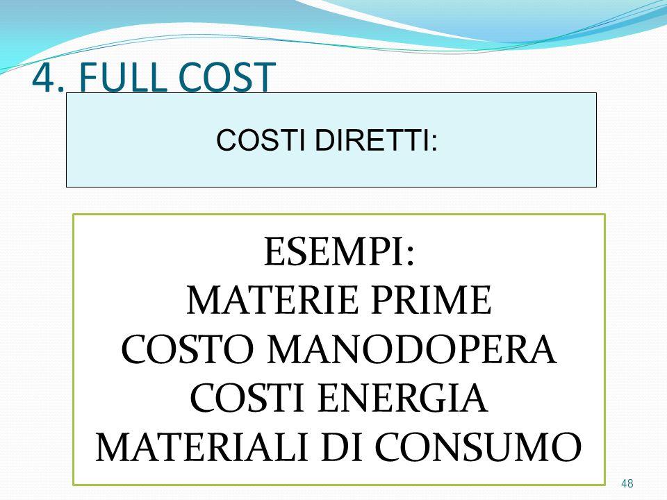 4. FULL COST COSTI DIRETTI: ESEMPI: MATERIE PRIME COSTO MANODOPERA COSTI ENERGIA MATERIALI DI CONSUMO 48