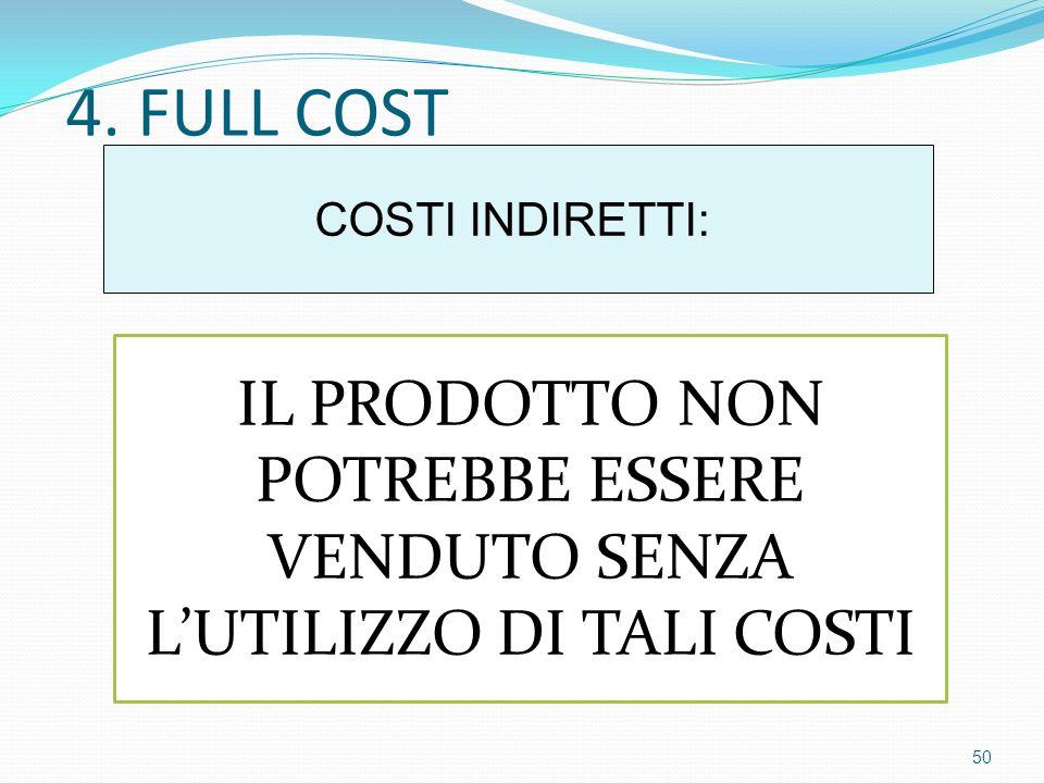 4. FULL COST COSTI INDIRETTI: IL PRODOTTO NON POTREBBE ESSERE VENDUTO SENZA L'UTILIZZO DI TALI COSTI 50