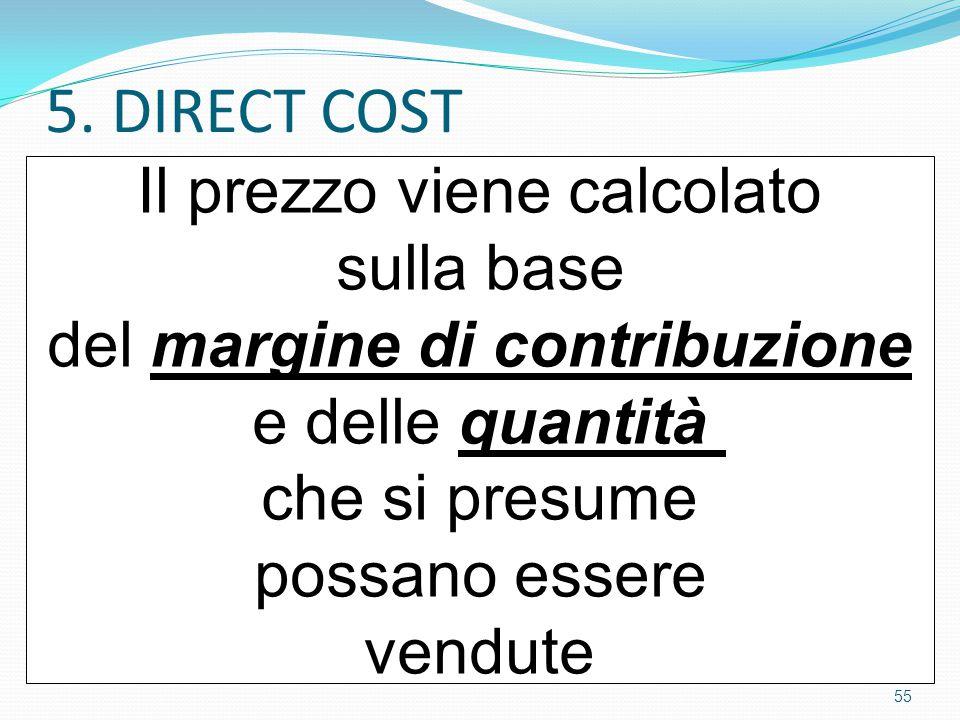 5. DIRECT COST Il prezzo viene calcolato sulla base del margine di contribuzione e delle quantità che si presume possano essere vendute 55