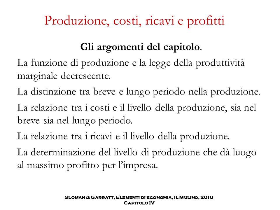 Produzione, costi, ricavi e profitti Gli argomenti del capitolo. La funzione di produzione e la legge della produttività marginale decrescente. La dis