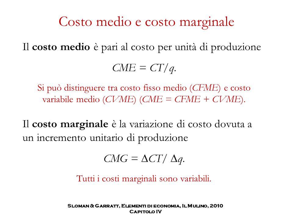 Costo medio e costo marginale Il costo medio è pari al costo per unità di produzione CME = CT/q. Si può distinguere tra costo fisso medio (CFME) e cos