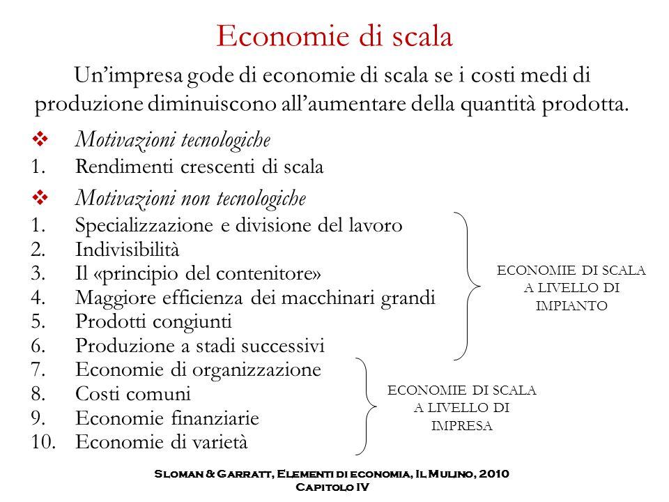 Economie di scala Un'impresa gode di economie di scala se i costi medi di produzione diminuiscono all'aumentare della quantità prodotta. Sloman & Garr