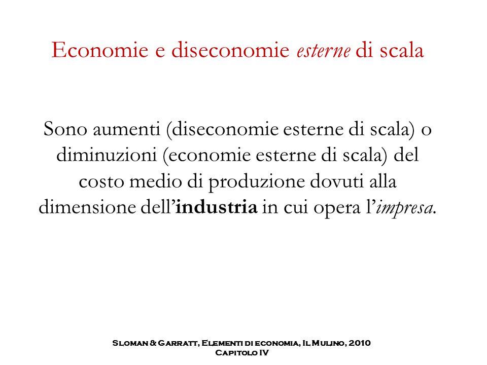Economie e diseconomie esterne di scala Sono aumenti (diseconomie esterne di scala) o diminuzioni (economie esterne di scala) del costo medio di produ