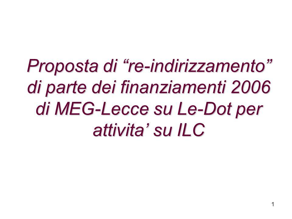 """1 Proposta di """"re-indirizzamento"""" di parte dei finanziamenti 2006 di MEG-Lecce su Le-Dot per attivita' su ILC"""