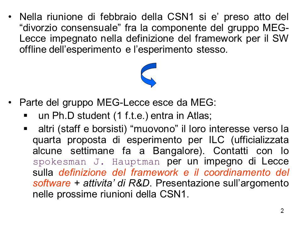 """2 Nella riunione di febbraio della CSN1 si e' preso atto del """"divorzio consensuale"""" fra la componente del gruppo MEG- Lecce impegnato nella definizion"""