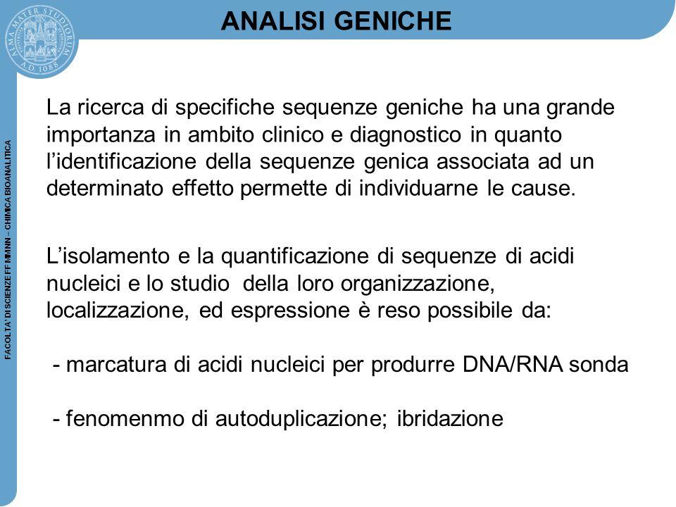 FACOLTA' DI SCIENZE FF MM NN – CHIMICA BIOANALITICA ANALISI GENICHE L'isolamento e la quantificazione di sequenze di acidi nucleici e lo studio della