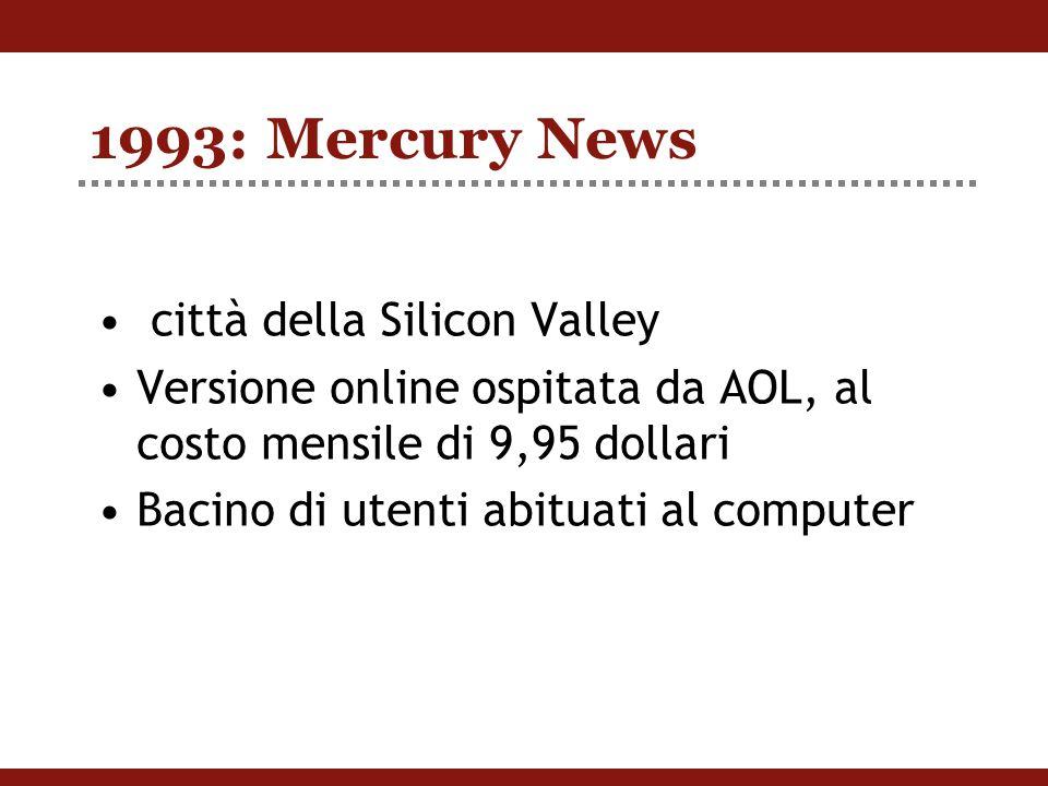 1993: Mercury News città della Silicon Valley Versione online ospitata da AOL, al costo mensile di 9,95 dollari Bacino di utenti abituati al computer