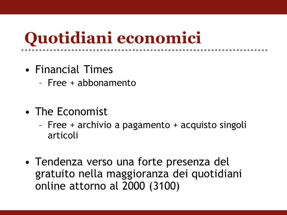 Quotidiani economici Financial Times –Free + abbonamento The Economist –Free + archivio a pagamento + acquisto singoli articoli Tendenza verso una forte presenza del gratuito nella maggioranza dei quotidiani online attorno al 2000 (3100)