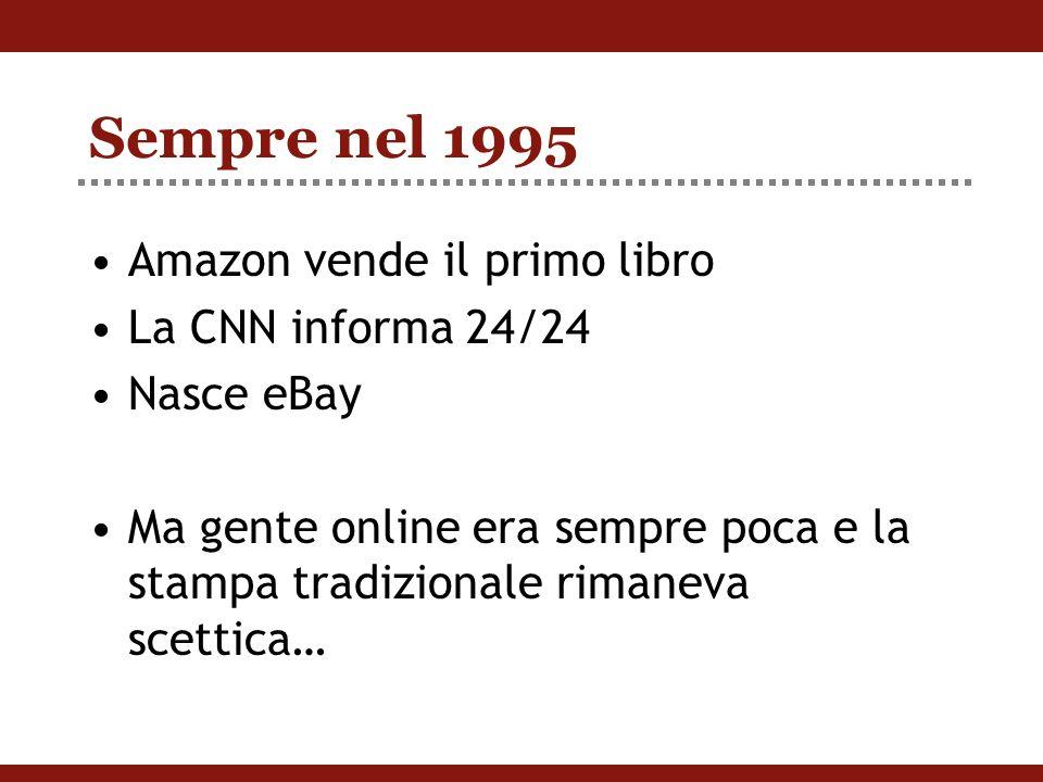 Sempre nel 1995 Amazon vende il primo libro La CNN informa 24/24 Nasce eBay Ma gente online era sempre poca e la stampa tradizionale rimaneva scettica…