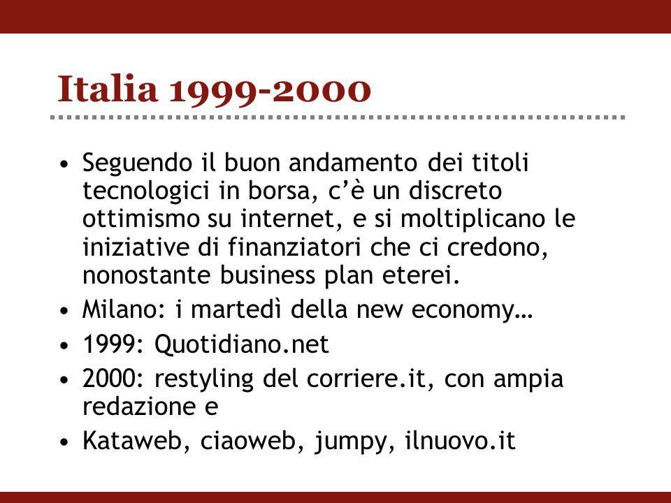 Italia 1999-2000 Seguendo il buon andamento dei titoli tecnologici in borsa, c'è un discreto ottimismo su internet, e si moltiplicano le iniziative di finanziatori che ci credono, nonostante business plan eterei.