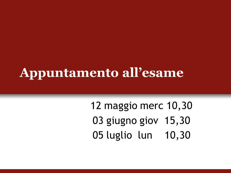Appuntamento all'esame 12 maggio merc 10,30 03 giugno giov 15,30 05 luglio lun 10,30