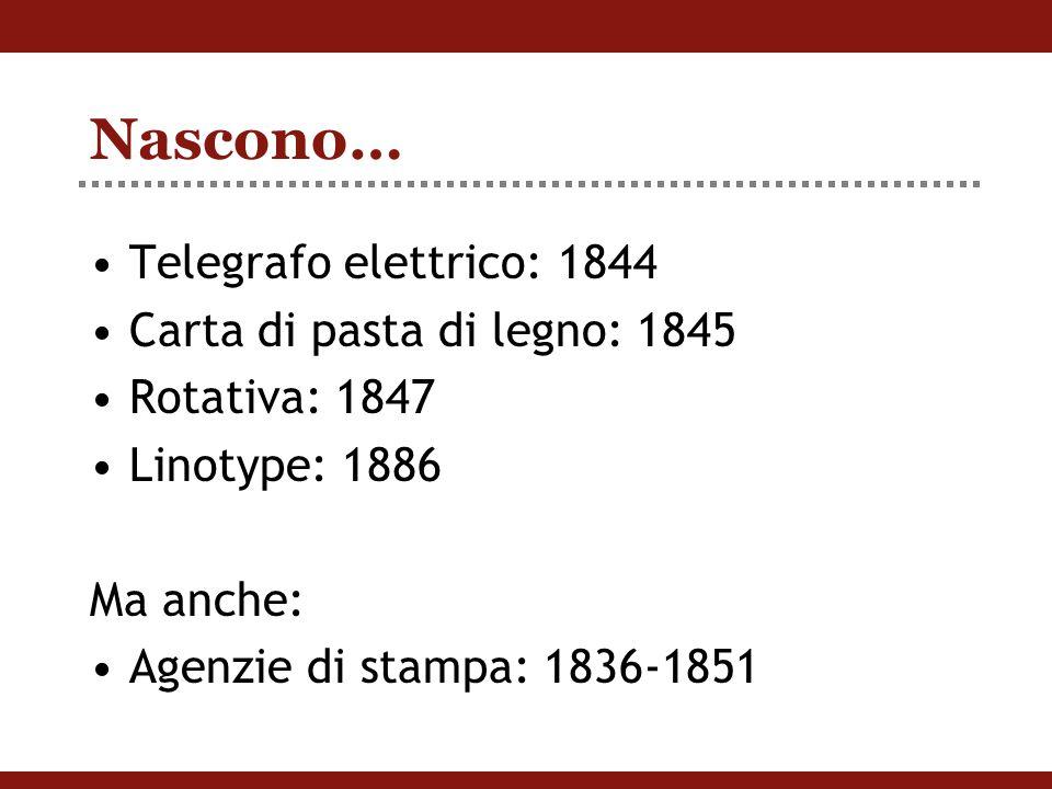 Nascono… Telegrafo elettrico: 1844 Carta di pasta di legno: 1845 Rotativa: 1847 Linotype: 1886 Ma anche: Agenzie di stampa: 1836-1851