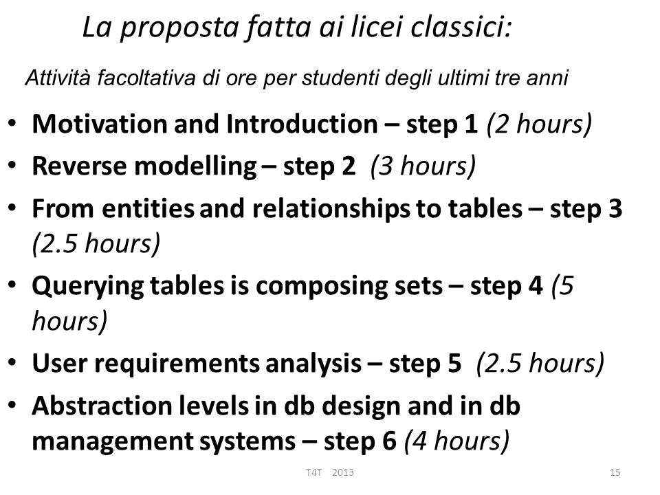 La proposta fatta ai licei classici: Motivation and Introduction – step 1 (2 hours) Reverse modelling – step 2 (3 hours) From entities and relationshi