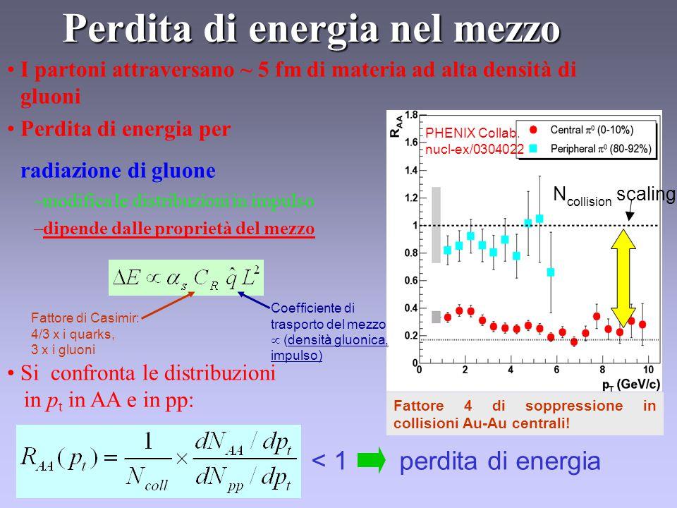 I partoni attraversano ~ 5 fm di materia ad alta densità di gluoni Perdita di energia per radiazione di gluone –modifica le distribuzioni in impulso –dipende dalle proprietà del mezzo Si confronta le distribuzioni in p t in AA e in pp: Perdita di energia nel mezzo < 1 perdita di energia PHENIX Collab.