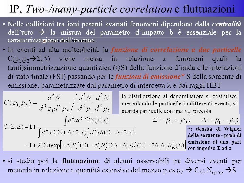 IP, Two-/many-particle correlation e fluttuazioni la distribuzione al denominatore si costruisce mescolando le particelle in differenti eventi; si guarda particelle con una v rel piccola Nelle collisioni tra ioni pesanti svariati fenomeni dipendono dalla centralità dell'urto  la misura del parametro d'impatto b è essenziale per la caratterizzazione dell'evento.
