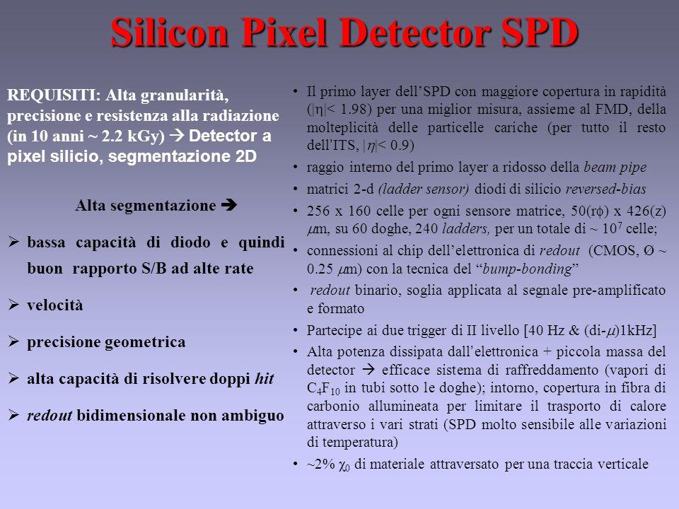 Silicon Pixel Detector SPD Il primo layer dell'SPD con maggiore copertura in rapidità (|  |< 1.98) per una miglior misura, assieme al FMD, della molteplicità delle particelle cariche (per tutto il resto dell ' ITS, |  |< 0.9) raggio interno del primo layer a ridosso della beam pipe matrici 2-d (ladder sensor) diodi di silicio reversed-bias 256 x 160 celle per ogni sensore matrice, 50(r  ) x 426(z)  m, su 60 doghe, 240 ladders, per un totale di ~ 10 7 celle; connessioni al chip dell'elettronica di redout (CMOS, Ø ~ 0.25  m) con la tecnica del bump-bonding redout binario, soglia applicata al segnale pre-amplificato e formato Partecipe ai due trigger di II livello [40 Hz & (di-  )1kHz] Alta potenza dissipata dall ' elettronica + piccola massa del detector  efficace sistema di raffreddamento (vapori di C 4 F 10 in tubi sotto le doghe); intorno, copertura in fibra di carbonio allumineata per limitare il trasporto di calore attraverso i vari strati (SPD molto sensibile alle variazioni di temperatura) ~2% χ 0 di materiale attraversato per una traccia verticale Alta segmentazione   bassa capacità di diodo e quindi buon rapporto S/B ad alte rate  velocità  precisione geometrica  alta capacità di risolvere doppi hit  redout bidimensionale non ambiguo REQUISITI: Alta granularità, precisione e resistenza alla radiazione (in 10 anni ~ 2.2 kGy)  Detector a pixel silicio, segmentazione 2D