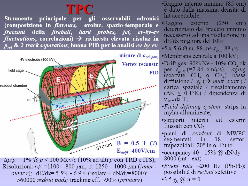 E E 510 cm E E 88usTPC Δp/p = 1% @ p < 100 Mev/c (10% ad alti p con TRD e ITS), Risoluzioni: r  =1100 – 800  m, z: 1250 – 1000  m (inner - outer r); dE/dx= 5.5% - 6.9% (isolate – dN/dy=8000); 560000 redout pads; tracking eff.