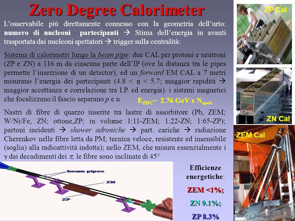 Zero Degree Calorimeter L'osservabile più direttamente connesso con la geometria dell'urto: numero di nucleoni partecipanti  Stima dell'energia in avanti trasportata dai nucleoni spettatori  trigger sulla centralità: Sistema di calorimetri lungo la beam pipe: due CAL per protoni e neutroni (ZP e ZN) a 116 m da ciascuna parte dell'IP (ove la distanza tra le pipes permette l'inserzione di un detector), ed un forward EM CAL a 7 metri misurano l'energia dei partecipanti (4.8 <  < 5.7; maggior rapidità  maggior accettanza e correlazione tra I.P.