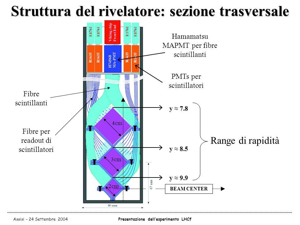 Assisi - 24 Settembre 2004Presentazione dell'esperimento LHCf Struttura del rivelatore: sezione trasversale Hamamatsu MAPMT per fibre scintillanti PMTs per scintillatori 4cm 3cm 2cm BEAM CENTER y ≈ 9.9 y ≈ 8.5 y ≈ 7.8 Fibre scintillanti Fibre per readout di scintillatori Range di rapidità