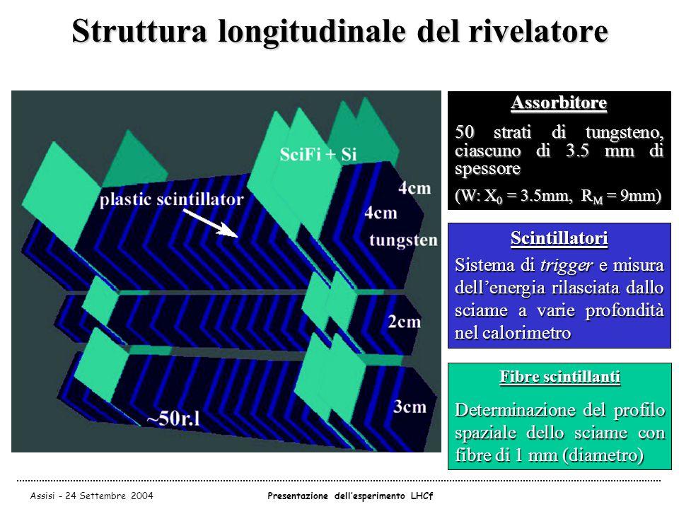 Assisi - 24 Settembre 2004Presentazione dell'esperimento LHCf Assorbitore 50 strati di tungsteno, ciascuno di 3.5 mm di spessore (W: X 0 = 3.5mm, R M = 9mm) Scintillatori Sistema di trigger e misura dell'energia rilasciata dallo sciame a varie profondità nel calorimetro Fibre scintillanti Determinazione del profilo spaziale dello sciame con fibre di 1 mm (diametro) Struttura longitudinale del rivelatore