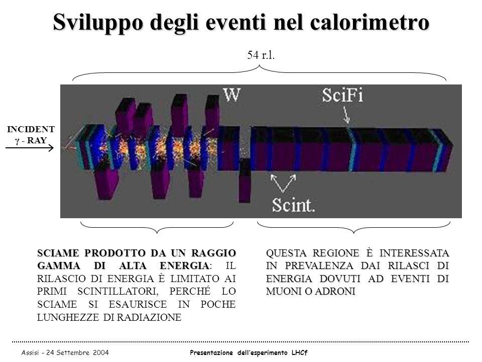 Assisi - 24 Settembre 2004Presentazione dell'esperimento LHCf Sviluppo degli eventi nel calorimetro SCIAME PRODOTTO DA UN RAGGIO GAMMA DI ALTA ENERGIA SCIAME PRODOTTO DA UN RAGGIO GAMMA DI ALTA ENERGIA: IL RILASCIO DI ENERGIA È LIMITATO AI PRIMI SCINTILLATORI, PERCHÉ LO SCIAME SI ESAURISCE IN POCHE LUNGHEZZE DI RADIAZIONE QUESTA REGIONE È INTERESSATA IN PREVALENZA DAI RILASCI DI ENERGIA DOVUTI AD EVENTI DI MUONI O ADRONI INCIDENT γ - RAY 54 r.l.