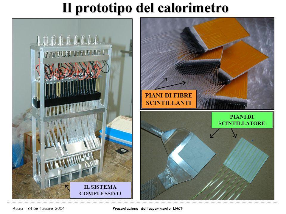 Assisi - 24 Settembre 2004Presentazione dell'esperimento LHCf Il prototipo del calorimetro PIANI DI FIBRE SCINTILLANTI PIANI DI SCINTILLATORE IL SISTEMA COMPLESSIVO