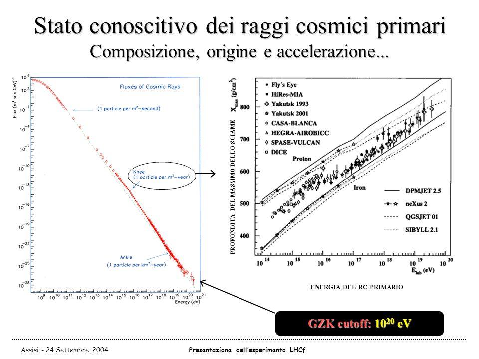 Assisi - 24 Settembre 2004Presentazione dell'esperimento LHCf Stato conoscitivo dei raggi cosmici primari Composizione, origine e accelerazione...