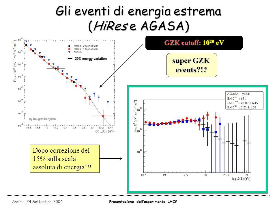 Assisi - 24 Settembre 2004Presentazione dell'esperimento LHCf Gli eventi di energia estrema (HiRes e AGASA) GZK cutoff: 10 20 eV AGASAvsHiRes super GZK events?!.