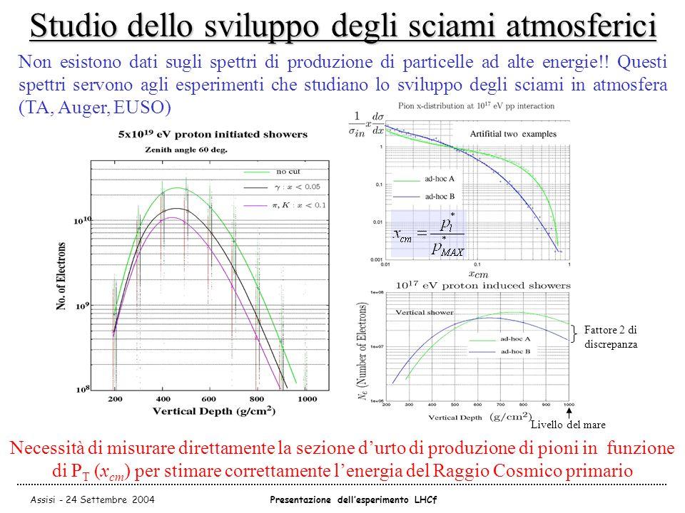 Assisi - 24 Settembre 2004Presentazione dell'esperimento LHCf Studio dello sviluppo degli sciami atmosferici Non esistono dati sugli spettri di produzione di particelle ad alte energie!.