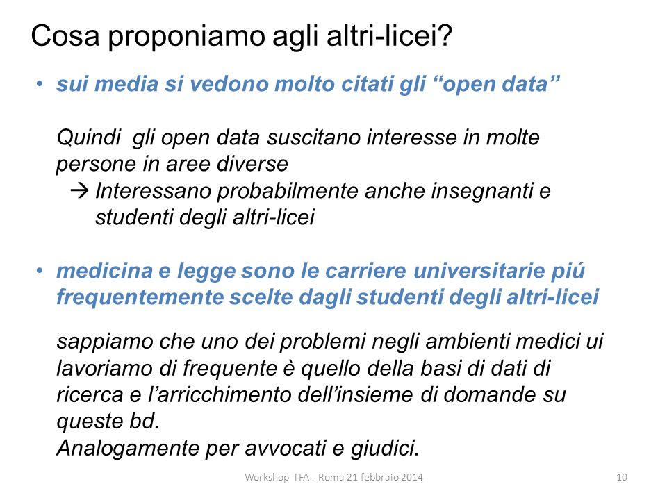 """10Workshop TFA - Roma 21 febbraio 2014 sui media si vedono molto citati gli """"open data"""" Quindi gli open data suscitano interesse in molte persone in a"""