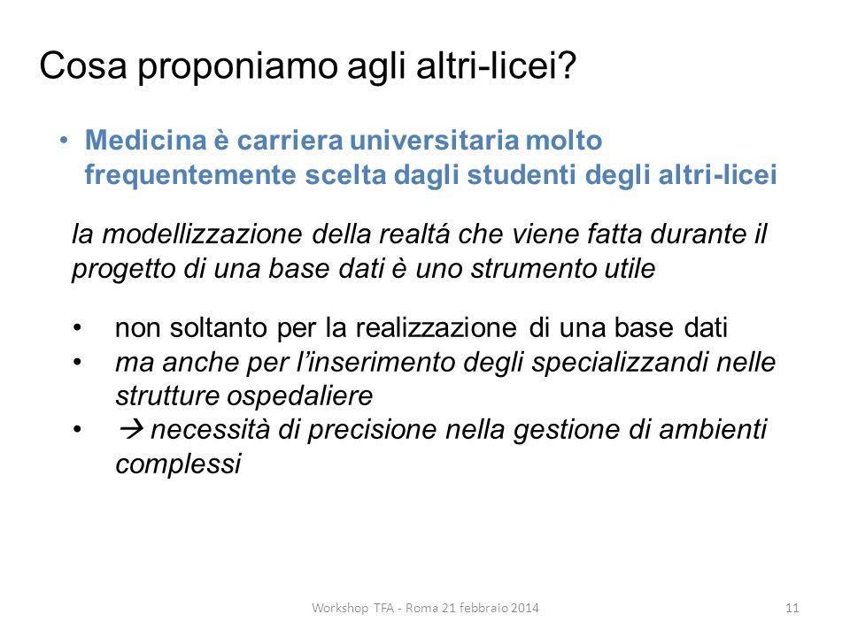 11Workshop TFA - Roma 21 febbraio 2014 Medicina è carriera universitaria molto frequentemente scelta dagli studenti degli altri-licei la modellizzazione della realtá che viene fatta durante il progetto di una base dati è uno strumento utile Cosa proponiamo agli altri-licei.