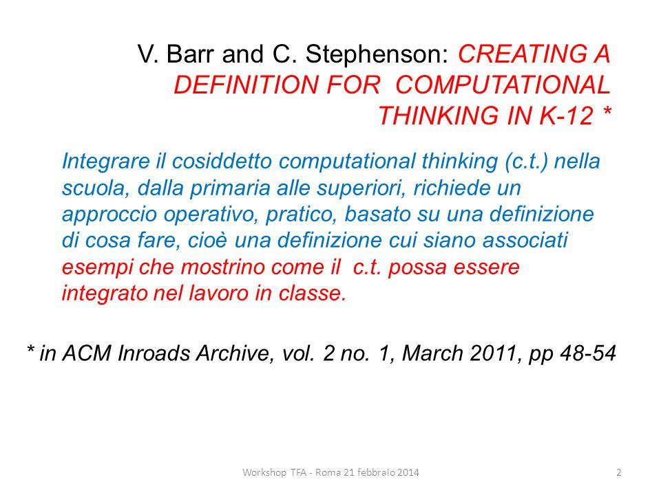 Integrare il cosiddetto computational thinking (c.t.) nella scuola, dalla primaria alle superiori, richiede un approccio operativo, pratico, basato su una definizione di cosa fare, cioè una definizione cui siano associati esempi che mostrino come il c.t.