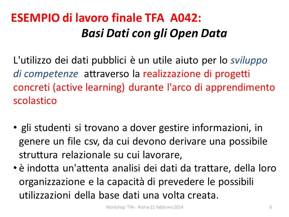 ESEMPIO di lavoro finale TFA A042: Basi Dati con gli Open Data L'utilizzo dei dati pubblici è un utile aiuto per lo sviluppo di competenze attraverso