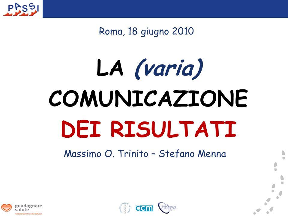 LA (varia) COMUNICAZIONE DEI RISULTATI Massimo O. Trinito – Stefano Menna Roma, 18 giugno 2010