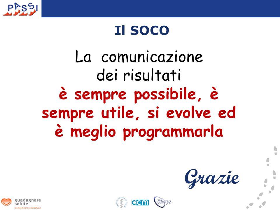 Il SOCO La comunicazione dei risultati è sempre possibile, è sempre utile, si evolve ed è meglio programmarla Grazie