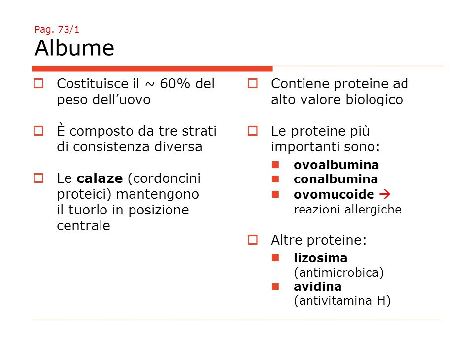 Pag. 73/1 Albume  Costituisce il ~ 60% del peso dell'uovo  È composto da tre strati di consistenza diversa  Le calaze (cordoncini proteici) manteng