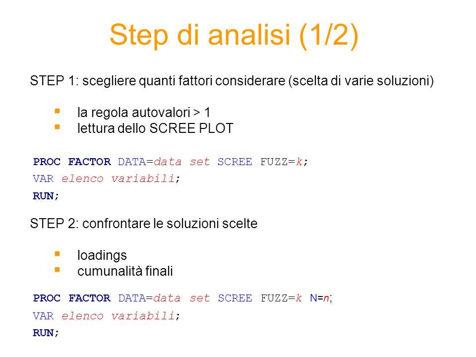 Step di analisi (1/2) STEP 1: scegliere quanti fattori considerare (scelta di varie soluzioni)  la regola autovalori > 1  lettura dello SCREE PLOT S
