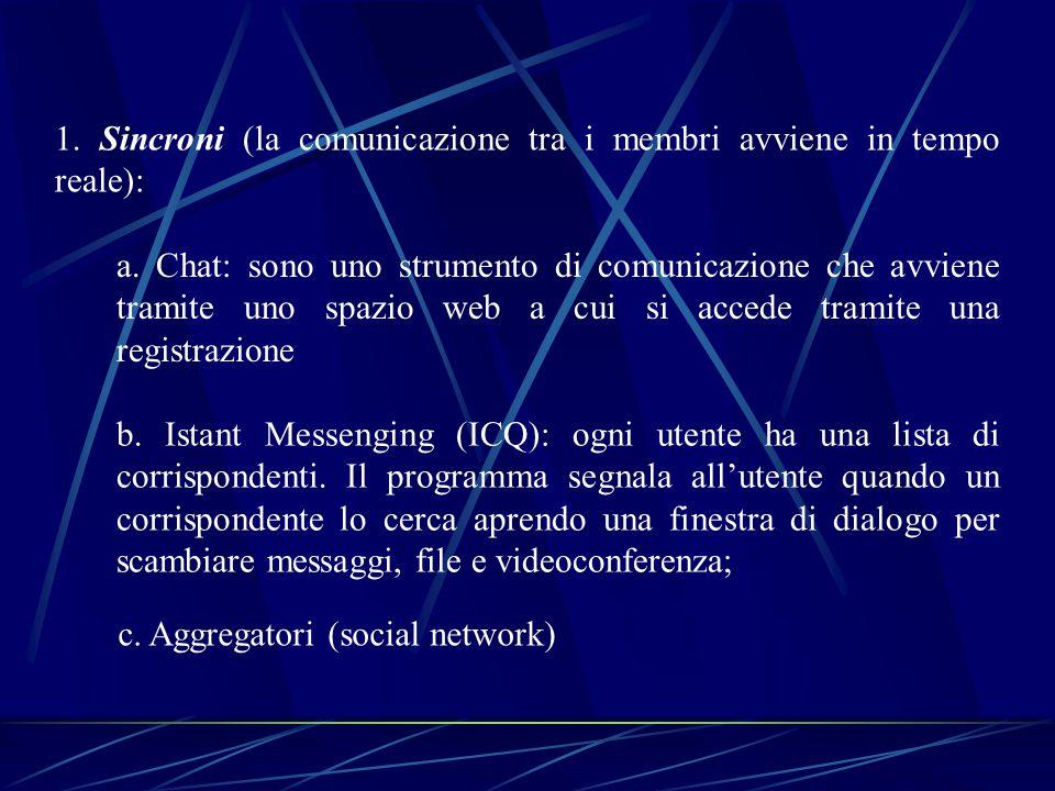 1. Sincroni (la comunicazione tra i membri avviene in tempo reale): a.