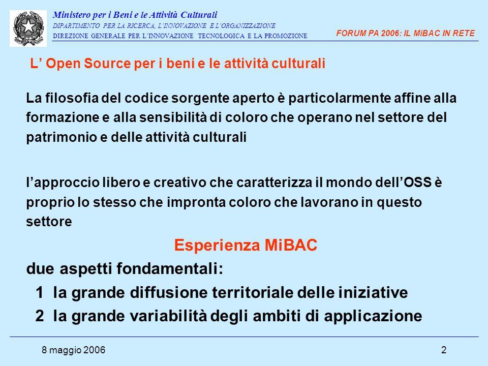 Ministero per i Beni e le Attività Culturali DIPARTIMENTO PER LA RICERCA, L'INNOVAZIONE E L'ORGANIZZAZIONE DIREZIONE GENERALE PER L'INNOVAZIONE TECNOLOGICA E LA PROMOZIONE FORUM PA 2006: IL MiBAC IN RETE 8 maggio 20063 4 Dipartimenti 10 direzioni generali 4 Istituti centrali di ricerca 2 Istituti centrali di documentazione 17 Direzioni regionali 90 Soprintendenze 134 sedi di Archivi di stato e Soprintendenze archivistiche 47 grandi biblioteche statali Oltre 460 musei nazionali e aree archeologiche il Ministero per i Beni e le Attività Culturali (MiBAC) è indubbiamente una delle Amministrazioni italiane con più forte radicamento territoriale.