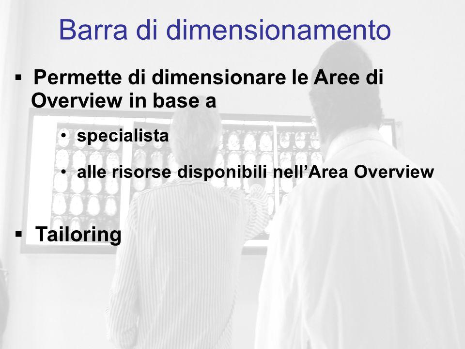  Permette di dimensionare le Aree di Overview in base a specialista alle risorse disponibili nell'Area Overview  Tailoring Barra di dimensionamento