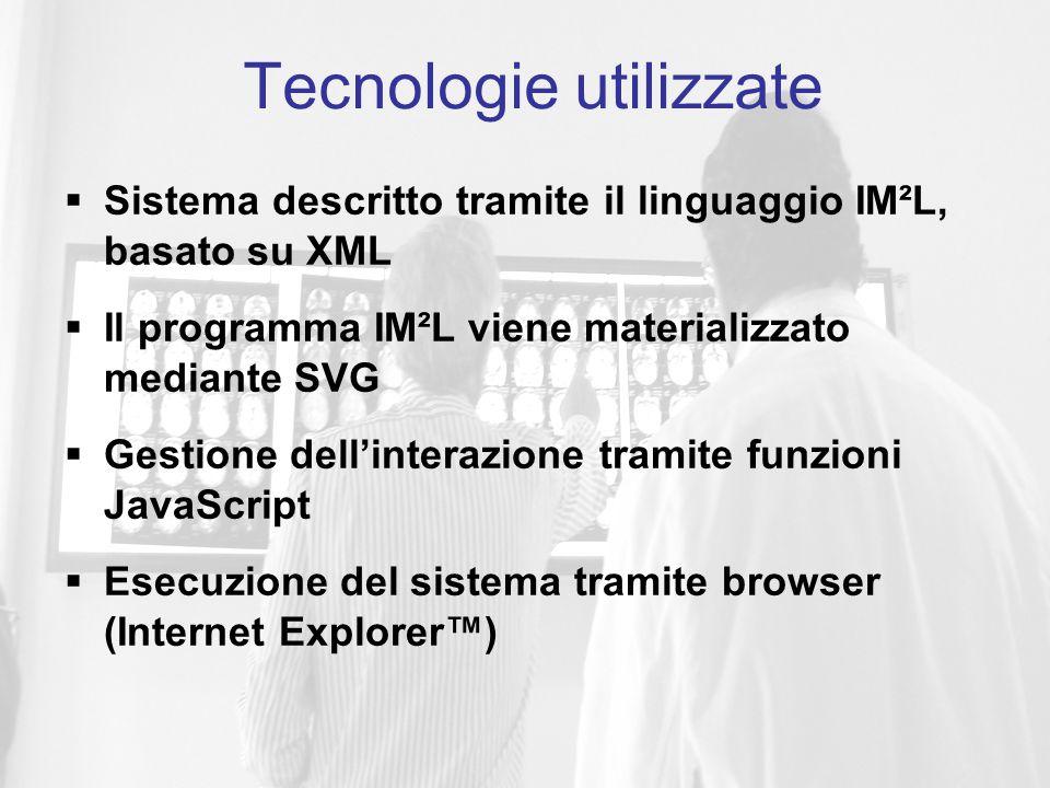  Sistema descritto tramite il linguaggio IM²L, basato su XML  Il programma IM²L viene materializzato mediante SVG  Gestione dell'interazione tramite funzioni JavaScript  Esecuzione del sistema tramite browser (Internet Explorer™) Tecnologie utilizzate