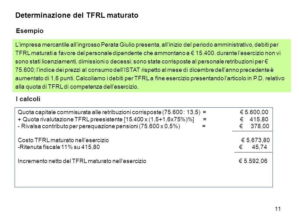 11 Determinazione del TFRL maturato Esempio L'impresa mercantile all'ingrosso Perata Giulio presenta, all'inizio del periodo amministrativo, debiti pe